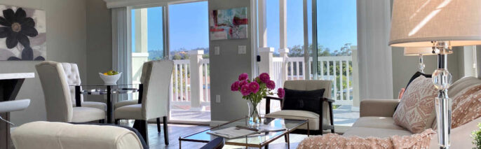 Transitional home staging design of living room in Rancho Santa Barbara 2 bed, 2