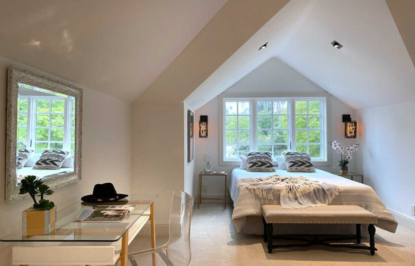 Transitional home staging design of guest bedroom in Upper East Side 3 bed, 4 bath newly constructed home