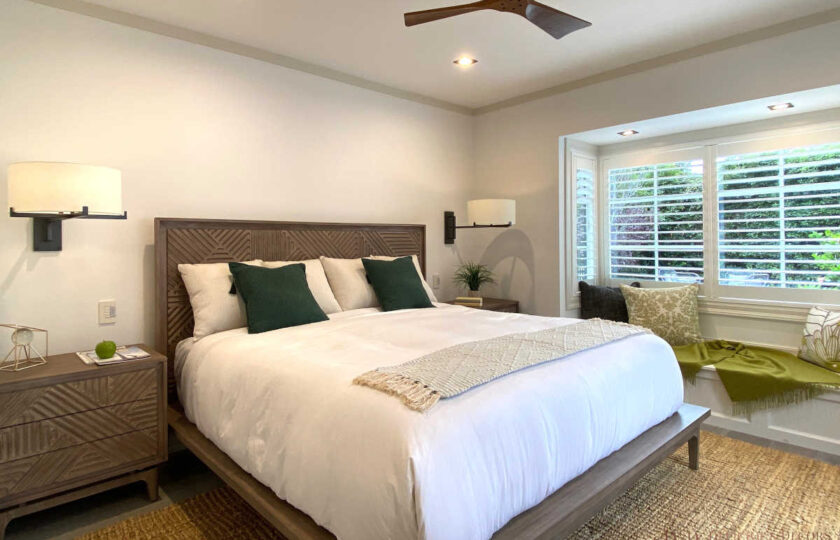 Transitional home staging design of guest bedroom Upper East Side 3 bed, 4 bath newly constructed home