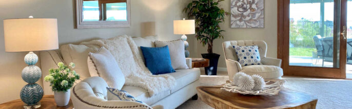 Transitional home staging design of living room in Ventura 4 bed, 3 bath home