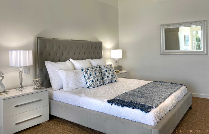 Boho Chic beach house at Faria Beach, master bedroom staging facing the king bed from the left