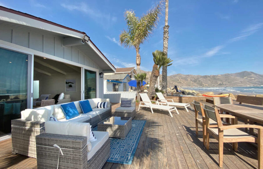Boho Chic beach house staging at Faria Beach, patio setting from the side