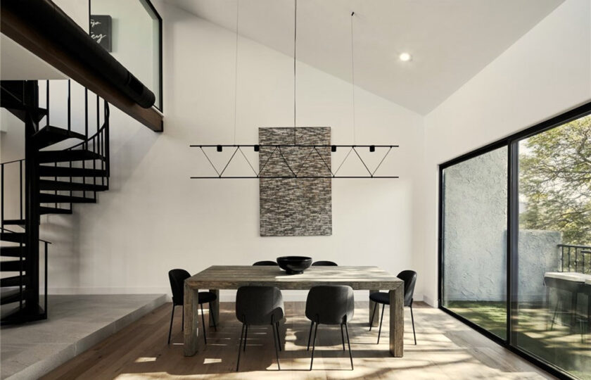 Contemporary home staging design of dining room in Los Angeles 2 bed, 2 bath penthouse unit