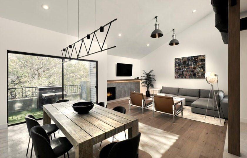 Contemporary home staging design of great room in Los Angeles 2 bed, 2 bath penthouse unit