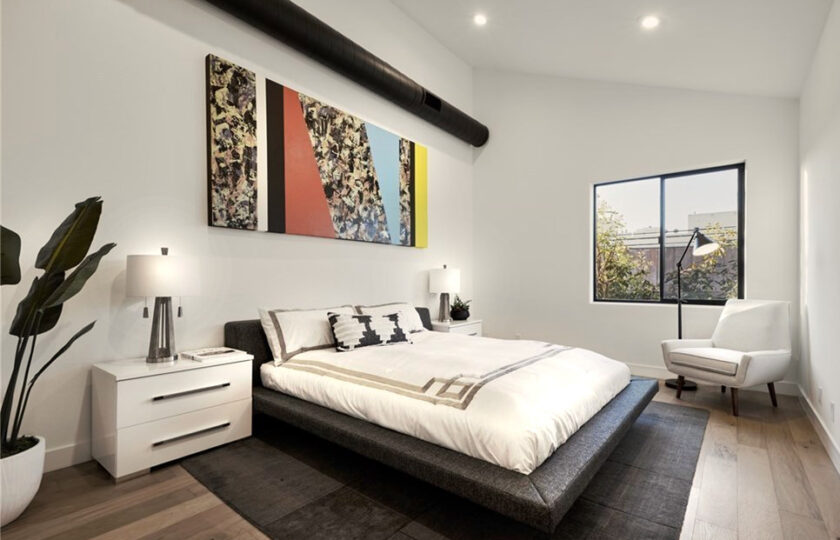 Contemporary home staging design of guest bedroom in Los Angeles 2 bed, 2 bath penthouse unit