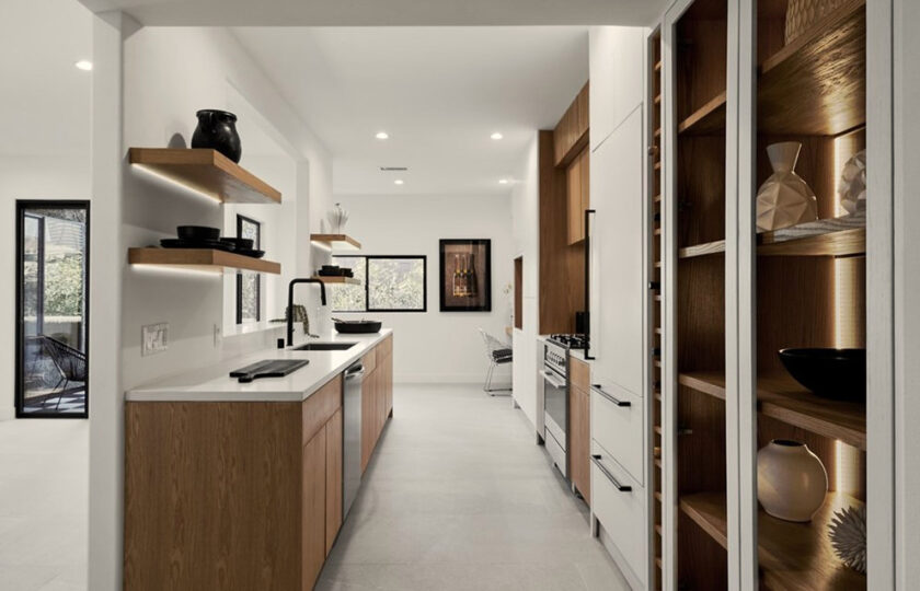 Contemporary home staging design of kitchen in Los Angeles 2 bed, 2 bath penthouse unit