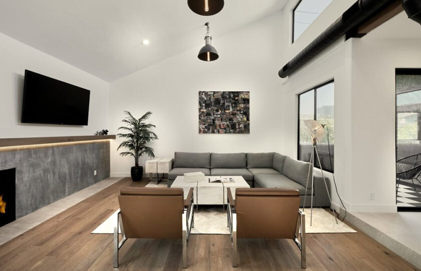 Contemporary home staging design of living room in Los Angeles 2 bed, 2 bath penthouse unit