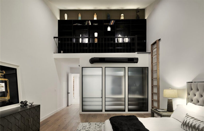 Contemporary home staging design of master bedroom in Los Angeles 2 bed, 2 bath penthouse unit