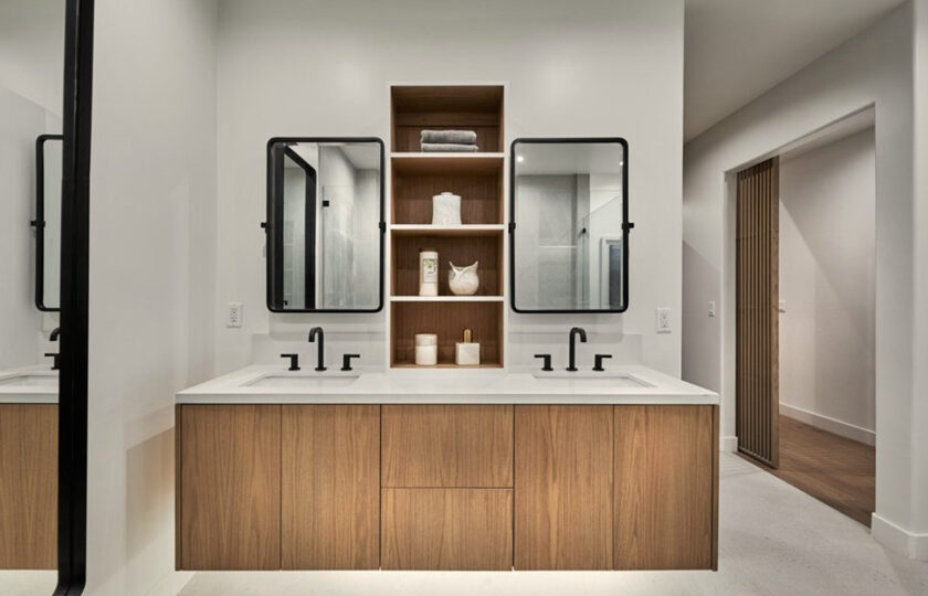 Contemporary home staging design of master bathroom in Los Angeles 2 bed, 2 bath penthouse unit