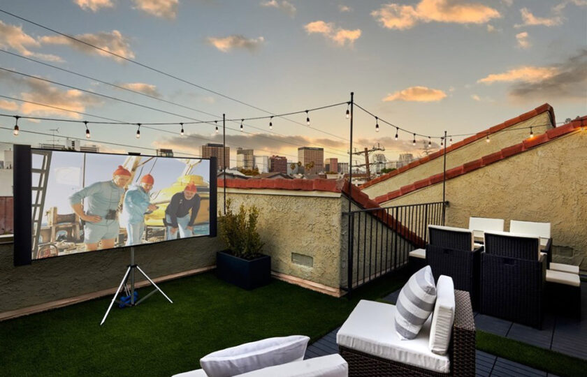 Contemporary home staging design of roof patio in Los Angeles 2 bed, 2 bath penthouse unit