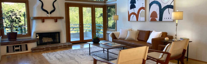 Boho Chic home staging design of living room in Santa Barbara 5 bed, 4 bath home