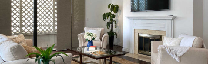 Transitional home staging design of living room in Los Angeles 2 bed, 3 bath condo