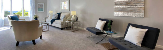 Transitional home staging design of living room in Santa Barbara 3 bed, 2.5 condo
