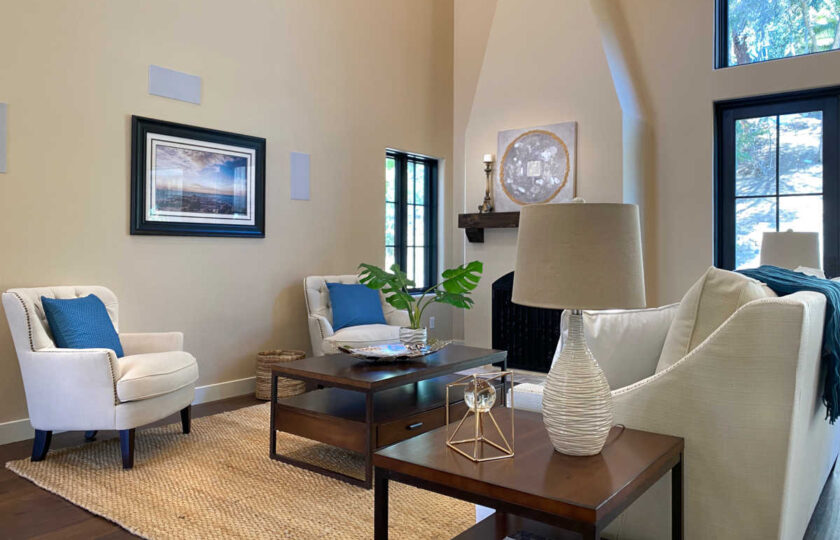 Traditional home staging design of living room in Ventura 4 bed, 3 bath family home