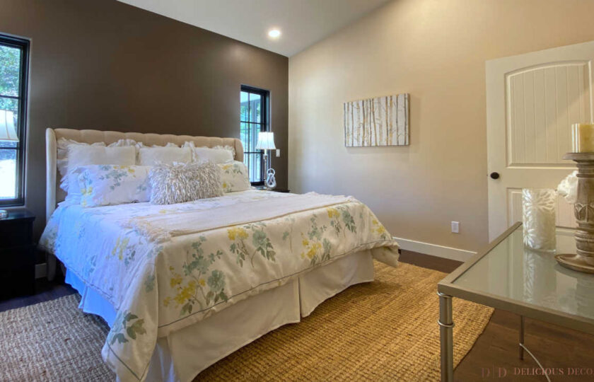 Traditional home staging design of master bedroom in Ventura 4 bed, 3 bath family home