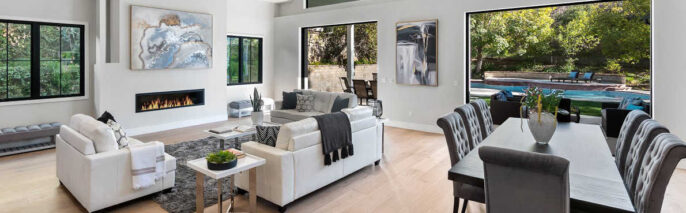 Contemporary home staging design of great room in Oak Park home
