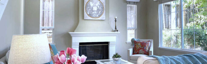 Transitional living room with