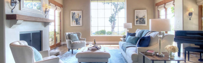 Traditionally staged living room in Montecito at 4 bedroom, 6 bathroom property