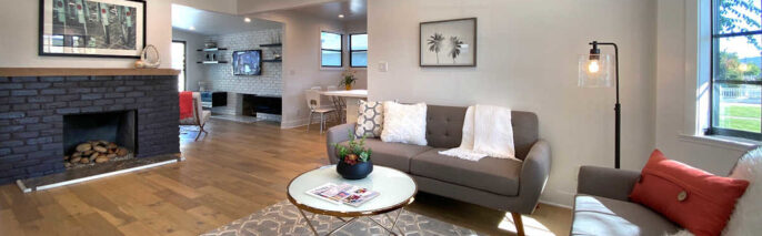 living room with two love seats and coffee table in the center