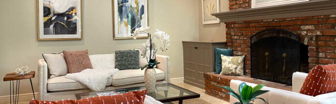 Transitionally staged family room in Thousand Oaks, with 5 bedrooms and 5 bathrooms